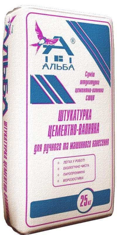 Штукатурка цементно-вапняна для машинного нанесення (25 кг)