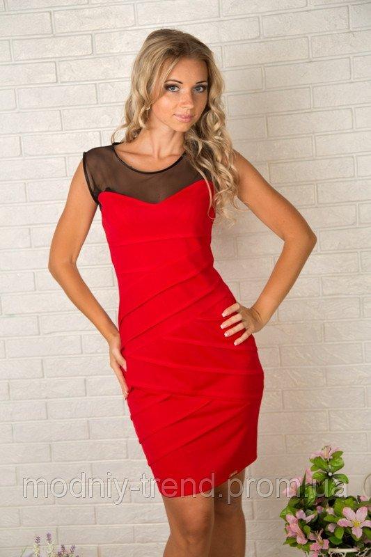 Платье красное с сеткой