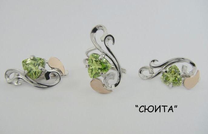 Серебряные украшения с драгоценными камнями фото