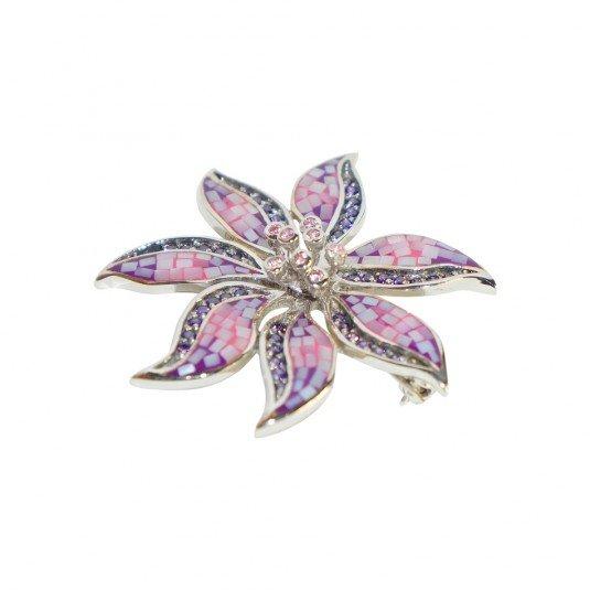 Купить Серебряная брошь в форме цветка со вставками. Арт. 3-178 152