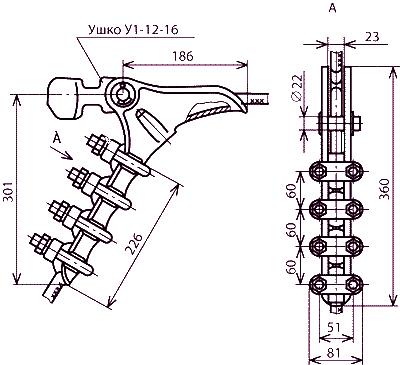 Зажим натяжной болтовой НБ-3-6Б
