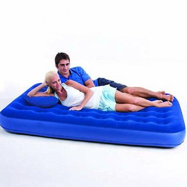 Двуспальный надувной матрас-кровать с напылением + насос и подушка 193х152х22