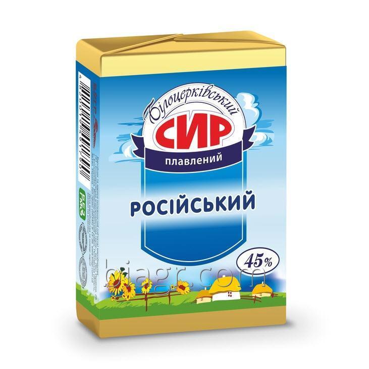 Сыр плавленый «Российский», с массовой долей жира в сухом веществе 45%, 90 г, фольга алюминиевая