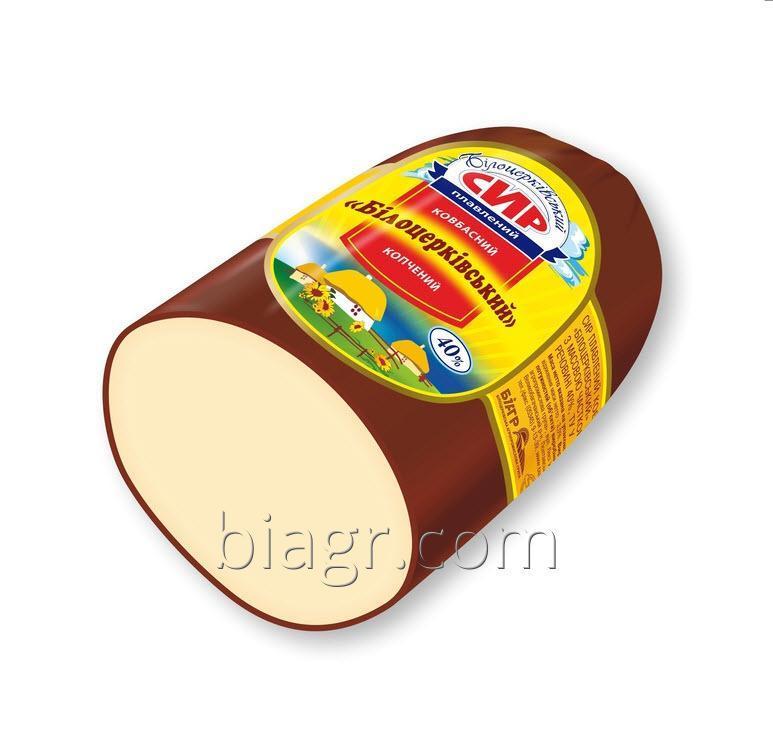Сыр плавленый колбасный «Белоцерковский» копченый, с массовой долей жира в сухом веществе 40%, 250 - 350 (г) нефиксированный вес, термоусадочный пакет
