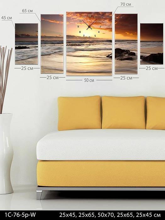 Модульная картина-часы Прекрасное море, код 1С-76-5p