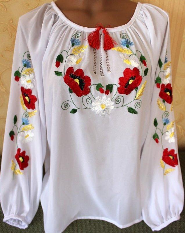 Біла блузка вишиванка квіткова на шифоні купити в Київ 9d34cadae1d13