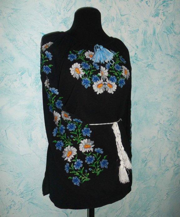 Чорна жіноча вишиванка на шифоні купити в Київ abd2dbe033f8e