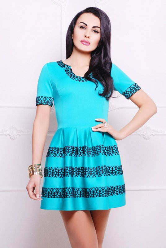 Buy Short dress tunic with an openwork band