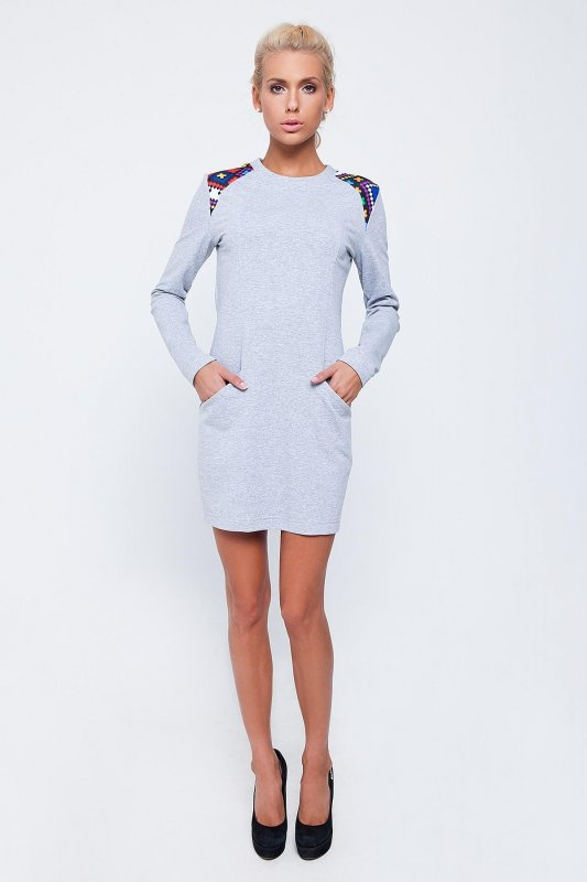 Buy Gray dress with drawing on shoulders