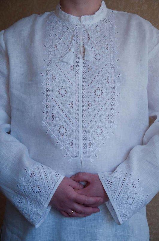 Ексклюзивна чоловіча вишиванка білим по білому ручний роботи купити ... 707b66729ad71