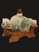 """Набор """"Застолье"""" стеклянный бочонок с металлическим краном, 6 стаканов, подставка"""
