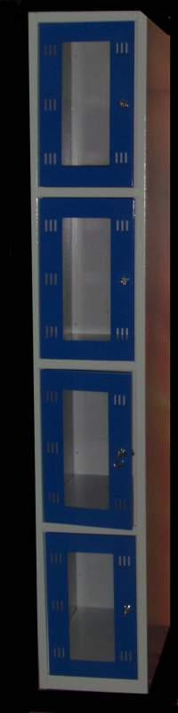 Камеры хранения металлические с прозрачными дверцами