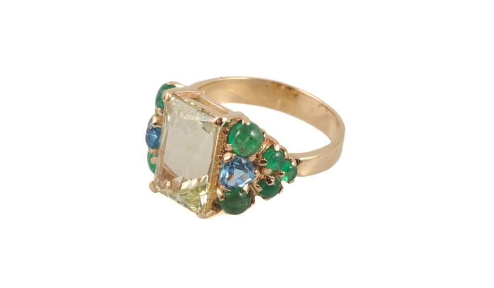 Золотое кольцо прозрачный перстень