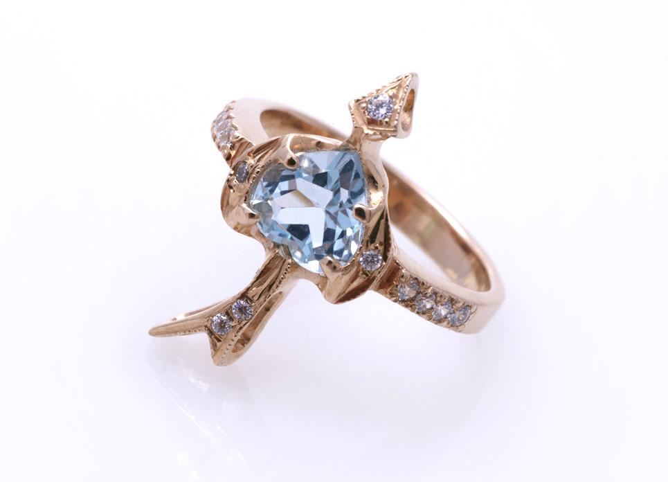Кольцо с голубым топазом Артикул: К074
