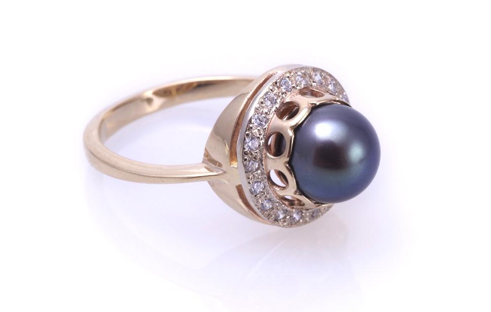 Кольцо с черным жемчугом Артикул: К069