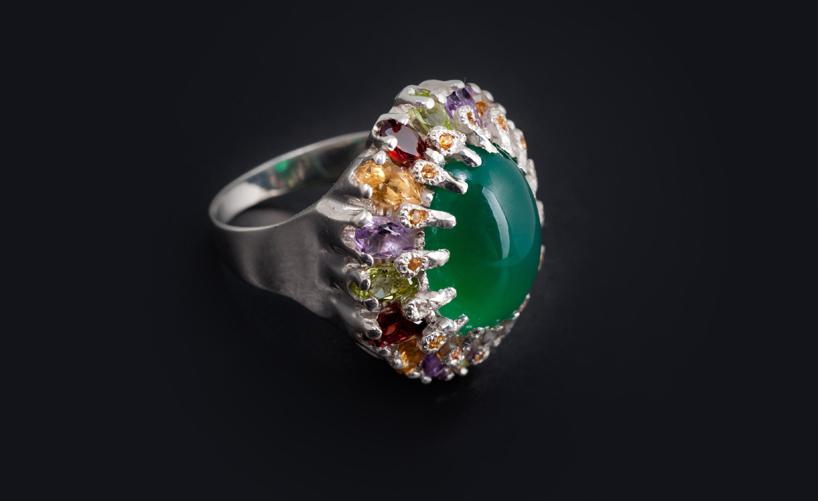 Кольцо серебряное с хризопразом Артикул: К117