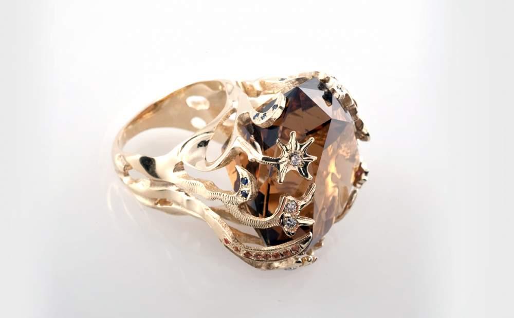 Перстень золотой с бразильским цитрином Артикул: К100