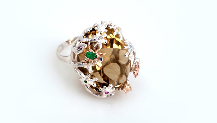 Эксклюзивное кольцо с натуральными камнями Артикул: К127