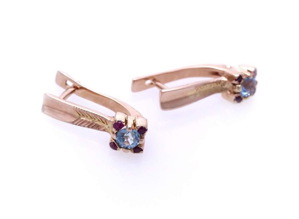 Серьги золотые с топазом и рубинами Артикул: С044