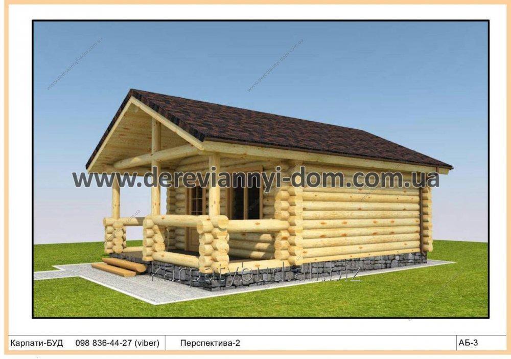Купить Деревянный одноэтажный дом из дикого сруба S=36,8 М²