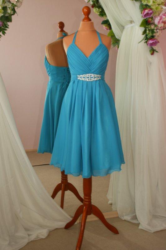 c93d70c323f3e5 Коротке бірюзове шифонове плаття купити в Київ