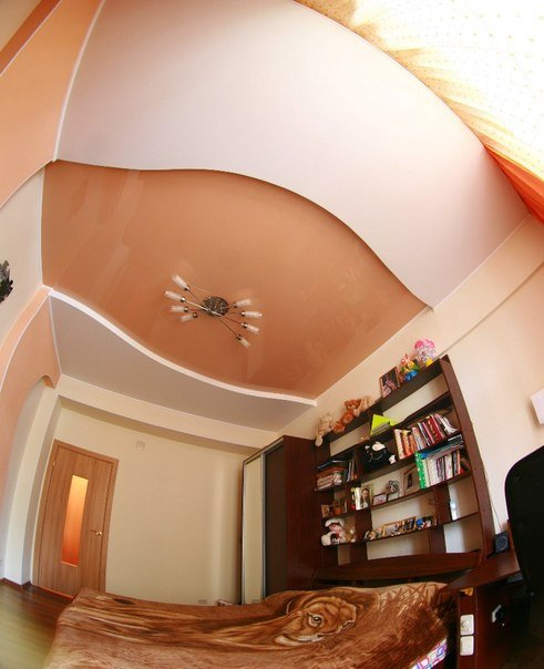 Buy Two-level stretch ceiling in a bedroom.