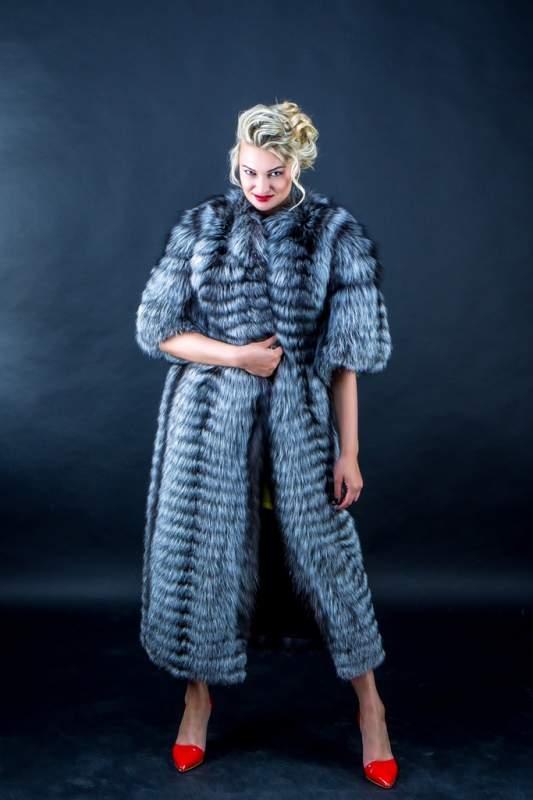 Меховое пальто из чернобурки от производителя Харьков Украина (код ЖЧ003620)