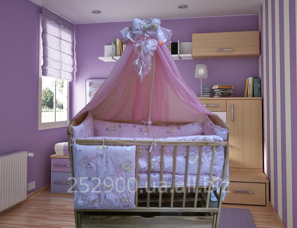 Детское постельное бельё в  кроватку, 8 эл (балдахин,защита,карман..)