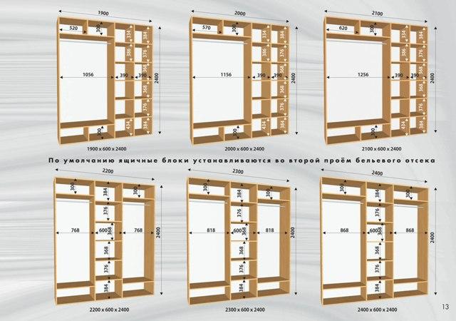 Схема шкафов - купе