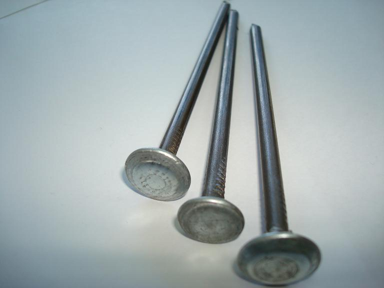 Гвозди шиферные с гладкой металлической оцинкованной головкой