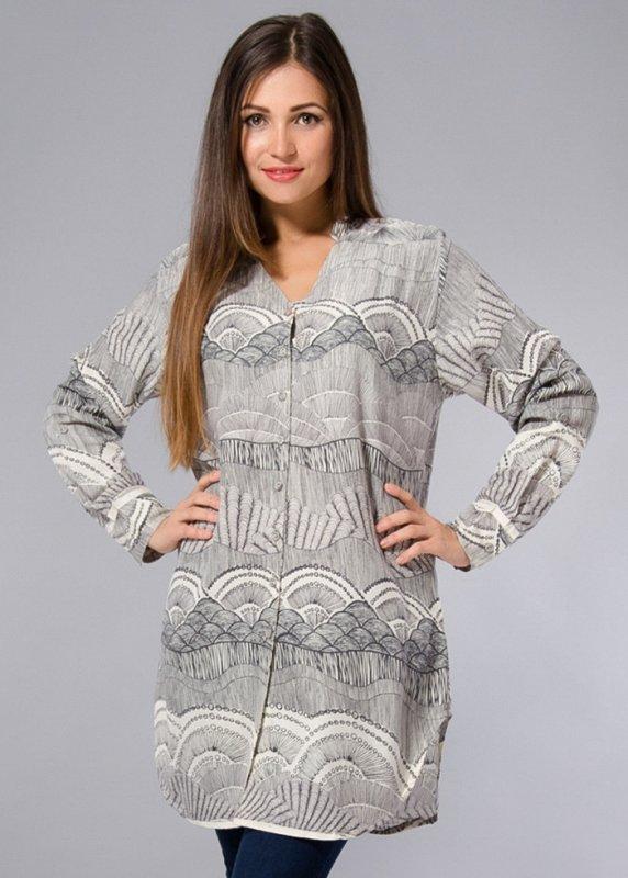 eaf005dfb48c Длинная рубашка туника большие размеры 48-58 с серым принтом