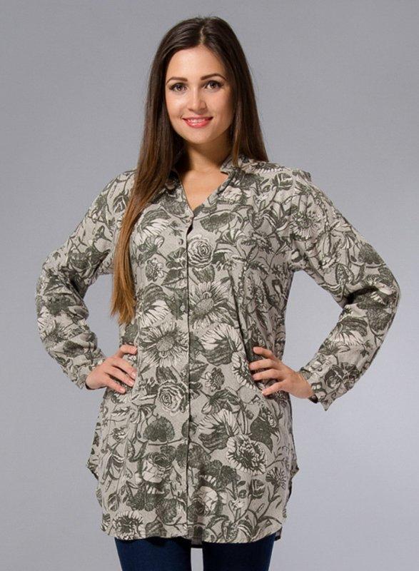 01fa307288e6 Длинная рубашка туника большие размеры 48-58 с оливковым принтом