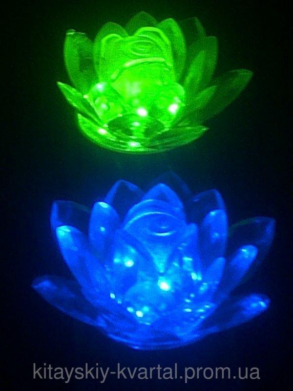 Светильник ночник Цветок Лилии синий