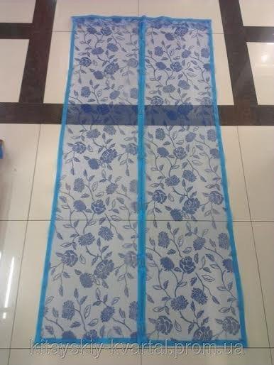 Москитная сетка на двери100*210 см Цветы голубая номер 1004