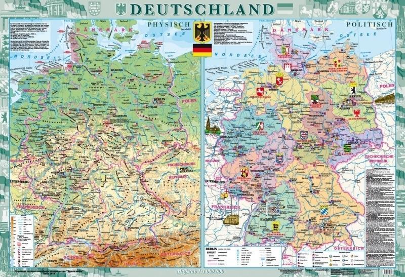 Deutschland. Фізична карта. Політико-адміністративна карта, м-б 1:1 000 000 (на планках)