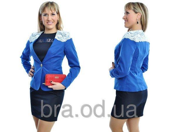 Піджак жіночий N290.Тканина-Полірований коттон+мереживо.Синій купити ... 54f79e0a58c18