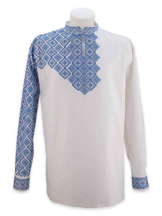 Біла лляна сорочка з повністю вишитим рукавом купити в Чернігів e789be31a8c11
