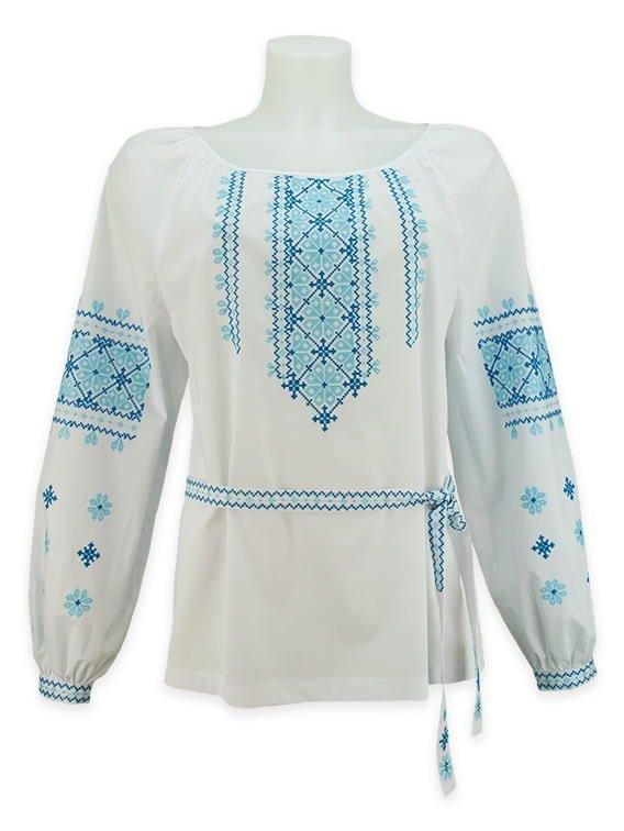 Незвичайна жіноча вишиванка з поясом із блакитною вишивкою хрестиком ... 979b06a5f5718