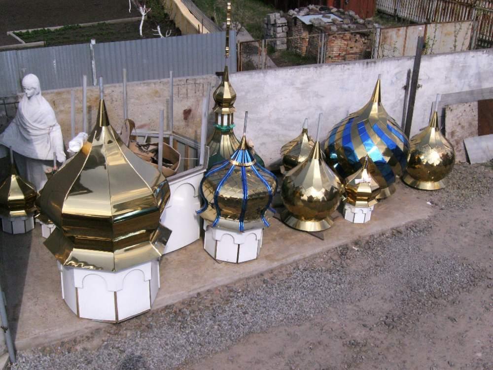 Купити Купола для храмів із застосуванням унікальної технології напилювання під золото (нітрид титану).