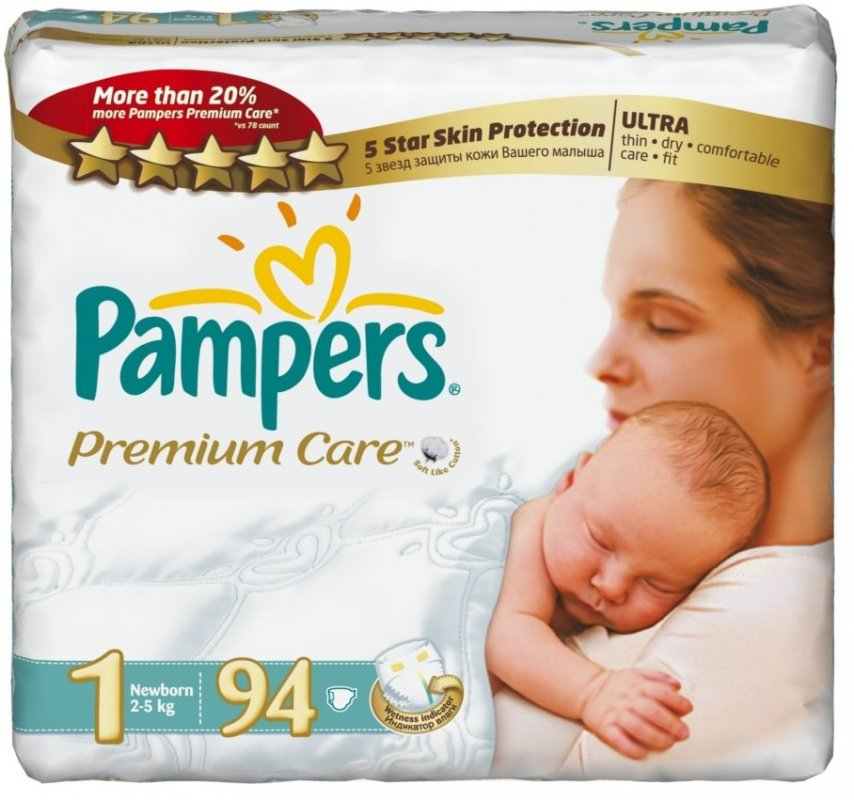 Подгузники Pampers Premium Care 1 (2-5 кг), 94 шт. Супер цена ... 17da93bae83