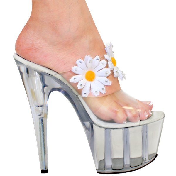 Strong Bedroom Slippers Strips On A High Platform And Heel With White Decorative Flowers