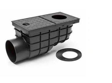 Черный дождеприемник с горизонтальным отводом воды DN110, Артикул 325G, МСН