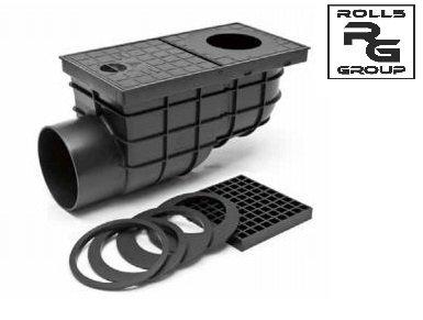 Горизонтальный дождеприемник черного цвета D110 Арт. 325 D МСН