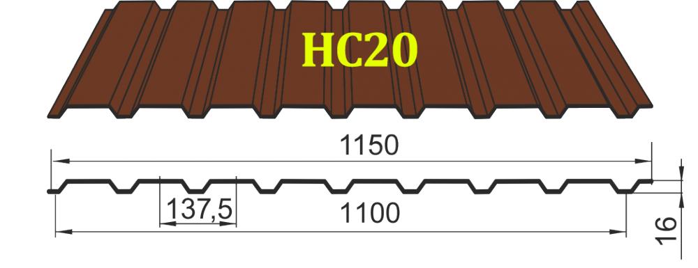 Профнастил HС-20 Тайгер Стил, 0.45 мм цветной матовый