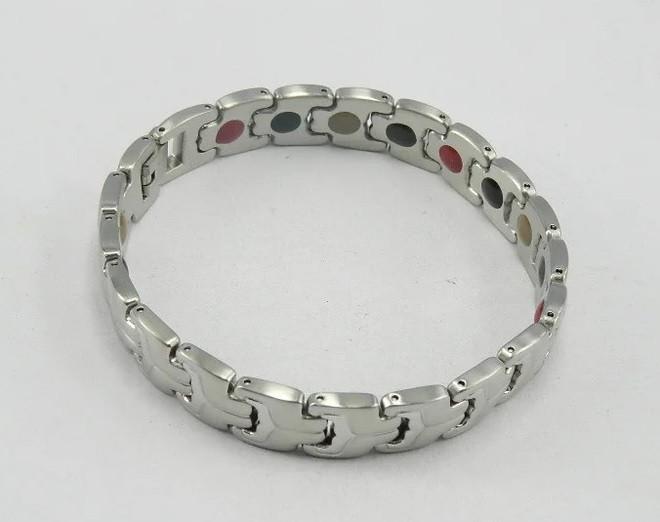 Магнитный Терапевтический браслет Бернард из нержавеющий стали ( родий, позолота)