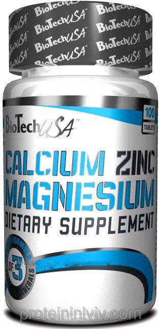Buy BioTech USA Calcium Zinc Magnesium (Ca-Mg-Zn) 100 tabs