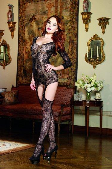 Ажурное платьице с присоединенными чулками и декоративной шнуровкой D-0186