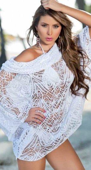 Ажурное пляжное платье-накидка E-L4776