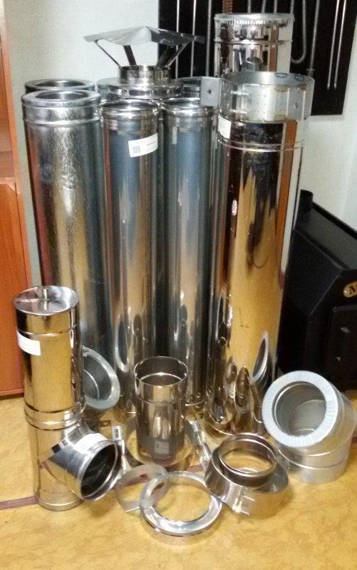 Труба нержавеющая в оцинкованном кожухе утепленная  Ø120/180мм, высота 1м толщина нерж. 0,8мм