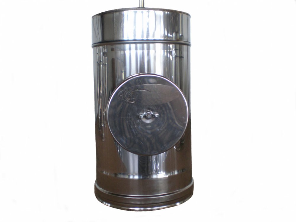 Ревизия нержавейка в оцинковке утепленная Ø180мм, толщина нержавейки 0,5мм